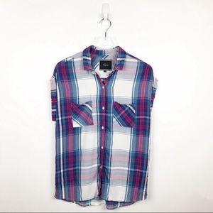Rails Britt Plaid Shirt Fuchsia Blue White Size S